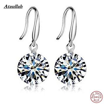 2 Colors 925 Solid Sterling Silver Drop Earrings Fashion High Quality Cute CZ AAAA Zircon Women Earrings Ataullah EWH009