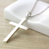Sterling Silver Simple Cross Pendant Necklace Women's Classic Jewelry Gift Idea