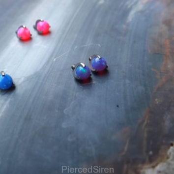 3mm prong set opal titanium internally threaded end blue pink purple 14g body jewelry ear helix nipple nose conch piercing opals post end
