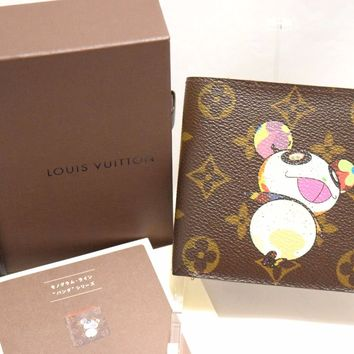 Takashi Murakami Louis Vuitton Brown Monogram Canvas Panda Wallet Purse Box