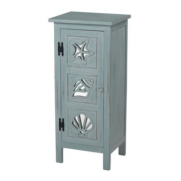 Normandy Shore Mirrored Seashell Cabinet