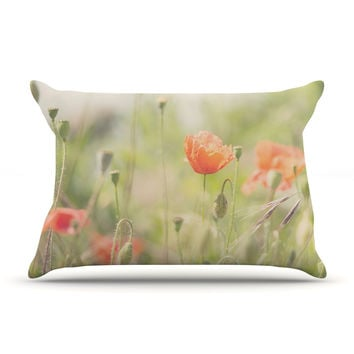 "Laura Evans ""Fields of Remembrance"" Green Orange Pillow Case"