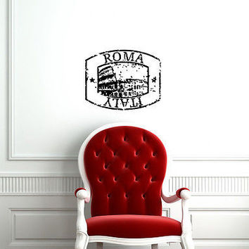 ROME ITALY STAMP  WALL VINYL STICKER DECAL MURAL ART A284