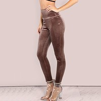 Stretch Velvet Mocha Brown Sexy Leggings for Women