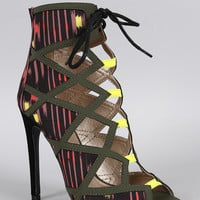 Qupid Abstract Caged Peep Toe Bootie