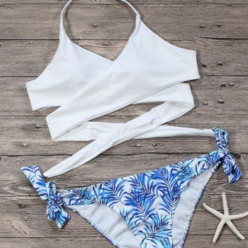 Sexy Fashion Women White Halter Top Bottom Blue Leaf Print Side Knot Two Piece Bikini Swimsuit Bathing