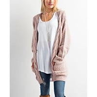 late at night open front cable knit cardigan sweater - more colors