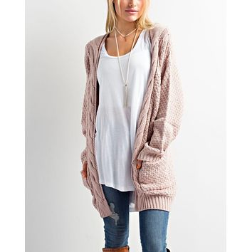late at night long sleeve knit cardigan - twig