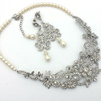 NICOLA - Vintage Inspired Rhinestone and Swarovski Pearl Bridal Chandelier Earrings and necklace set