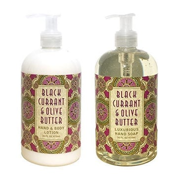 Greenwich Bay Black Currant & Olive Butter Hand & Body Lotion and Black Currant & Olive Butter Hand Soap Duo Set Enriched with Shea Butter 16 oz each