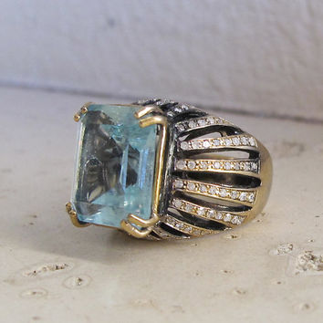Statement Aquamarine Ring- Engagement Ring- Designer Ring- Silver Ring- March Birthstone- September Birthstone- Diamond with Aquamarine