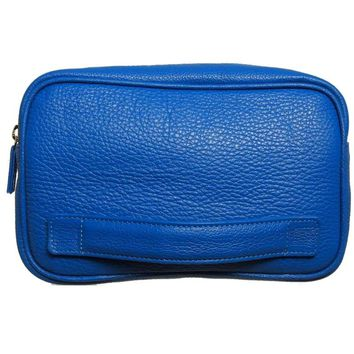 Grained Leather Dopp Kit Blue