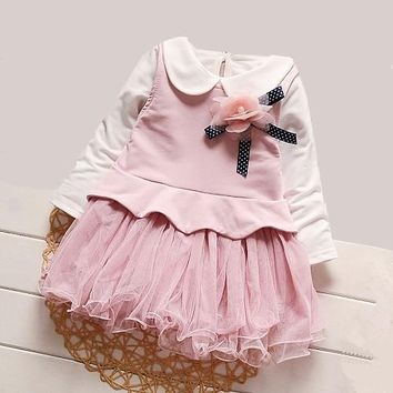 iAiRAY brand baby girl pink long sleeve dress children clothes flower decoration infant party dress peter pan collar white shirt
