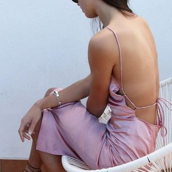 NEW fashion sexy straps side open knot pure color backless dress