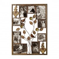 Adeco Decorative Bronze-Color Iron Wall Hanging Collage Picture Photo Frame, 9 Openings, Various Sizes