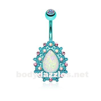 Blue Colorline Eirene Sparkling Opal Belly Button Ring 14ga Navel Ring Body Jewelry