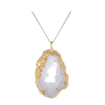 Natural Stone Pendant ~ Irregular Gold Amethyst ~Natural Stone Charms Jewelry  gold white