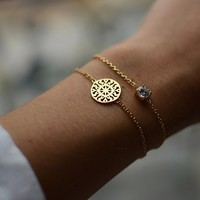 Childrens 18K Gold Plated Filigree Sun Disc 18 cm Chain Bracelet