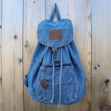 90s Grunge Normcore Denim Backpack - 90s Clueless Drawstring Light Denim BackPack - 90s Southwestern Cricket Faded Jean Slouchy Knapsack