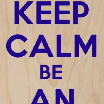 'Keep Calm and Be An Idiot' w/ Blue Footprints - Plywood Wood Print Poster Wall Art