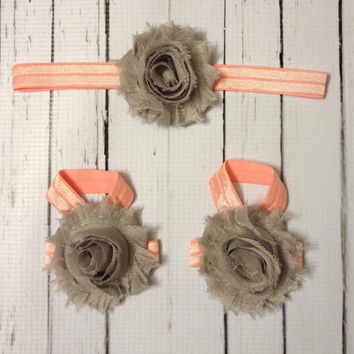 Baby Barefoot Sandals Headband Set...Pink and Grey Headband Barefoot Sandals