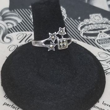 Marcasite shooting star sterling silver vintage ring size 6