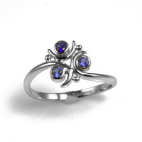 Zora Sapphire Ring in Sterling Silver - Made to Order