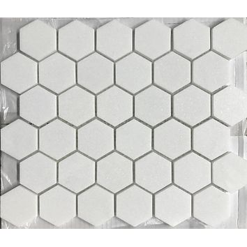 "Thassos White Marble Polished 2"" Hexagon Mosaic Tile"