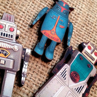 Vintage Style Retro Robot Push Pins or Magnets Blue Industrial (Qty 6) Office College Back to School Supplies Party Favors Gifts Under 25