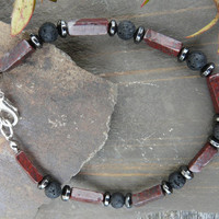 Mens Bracelet Gemstone Beads Jasper Hematite and Lava Rock Free Shipping