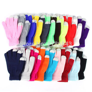 Winter Knitted Full Finger Texting Gloves Mittens For Smart Phone Touch Screen
