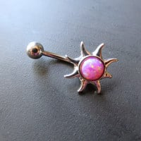 Pink Opal Sun Belly Button Ring Navel Piercing Bar Barbell Bellyring
