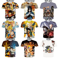New Design Unisex Fashion Summer T Shirts 3D Printed  Naruto Dragon Ball ONE PIEC Cosplay T-shirt [9325857796]