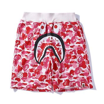 BAPE AAPE Summer Popular Women Men Loose Pink Camouflage Shark Mouth Print Elastic Waistband Sport Shorts I13165-1