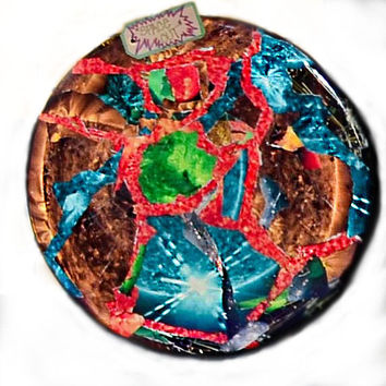 "Original Art ""Space Out"" Collage on Wood, Sealed in High Quality Epoxy Resin (1.25""x16"")"