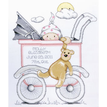 """Baby Buggy Girl Birth Record Counted Cross Stitch Kit-13""""""""X15"""""""" 14 Count"""