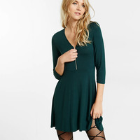 three quarter sleeve zip front fit and flare dress