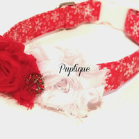 Snowflake Girl Dog Collar, Girl Dog Collar, Rosettes Dog Collar, Pet Dog Collar