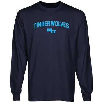 Northwood University of Michigan Timberwolves Mascot Logo Long Sleeve T-Shirt - Navy Blue