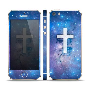 The Vector White Cross v2 over Space Nebula Skin Set for the Apple iPhone 5s
