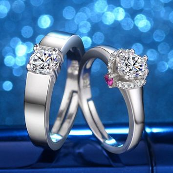 2 piece Fashion ring Princess Crystal Rings For Women men couple lover Wedding bands party Jewelry Valentine's Day gift
