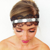 Lace Headband - Imperial Style - Womens Headbands Head Wraps, Head Bands Fabric Headband, Hair Turban Head Scarf Hair Wrap