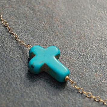 Turquoise Sideways Cross Necklace, Loving You