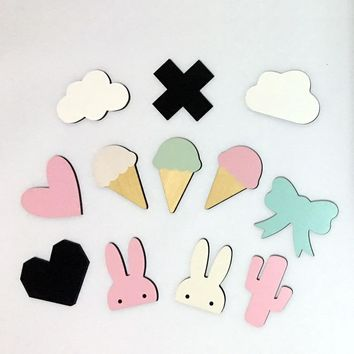 Nordic Style Decorative Wooden Wall Hooks in Cute Shapes - Kids' Room Decor