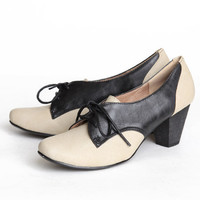 Chelsea Crew Susan oxford heels in black and beige - $59.99 : ShopRuche.com, Vintage Inspired Clothing, Affordable Clothes, Eco friendly Fashion
