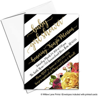 Black and White Baby Shower Invitation Gold Boho Flower Stripe Gold Glitter Painterly Watercolor | DIY Printable or Printed - WLP00852