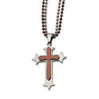 Men's Stainless Steel and Cognac Accent Cross Necklace