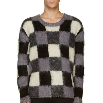 Mcq Alexander Mcqueen Grey And Black Mohair Check Sweater