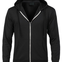 LE3NO Mens Long Sleeve Solid Zip Up Hoodie Jacket with Pocket (CLEARANCE)