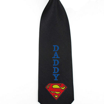 justice league superman ties, formal wear accessories, mens skinny ties, dads necktie, super daddy tie